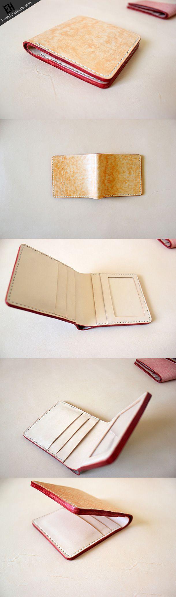 Handmade vintage light orange leather short ID card holder bifold wall | EverHandmade-SR