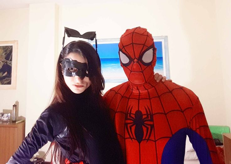 Spiderman in real life fighting and  giving kiss to Catwoman Funny video