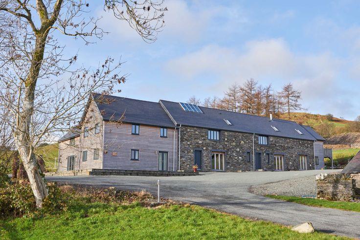 Tynrhyd Retreat – Commercial contemporary barn complex | Welsh Oak Frame #welshoakframe #oak #barn #wood #stone #frame #retreat