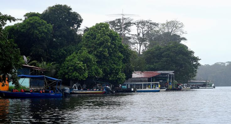 Port, houses, Tortugero, Costa Rica, boats, River, Rainforest, Town.