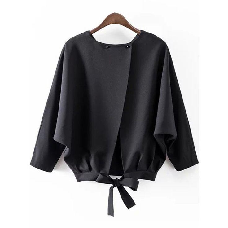 Women Blouses, Batwing Sleeve Split Blouse, Black