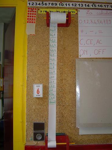 Un rouleau papier type rouleau pour calculette avec un dévidoir et un enrouleur. Chaque jour un élève écrit une quinzaine de nombres. L'activité devient un rituel où la classe construit la suite numérique. En une année, on peut espérer à aller jusqu'à 1000