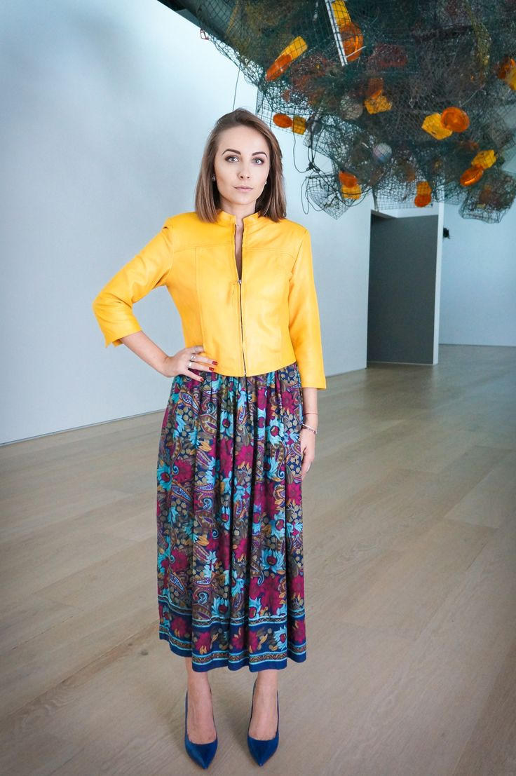 yellow leather jacket, flower print midi skirt http://wardrobedetectives.ca/perfect-leather-jacket/