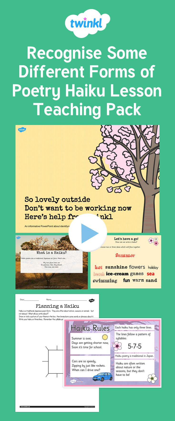 Recognise some different forms of poetry haiku lesson teaching pack trying to write haiku with your class