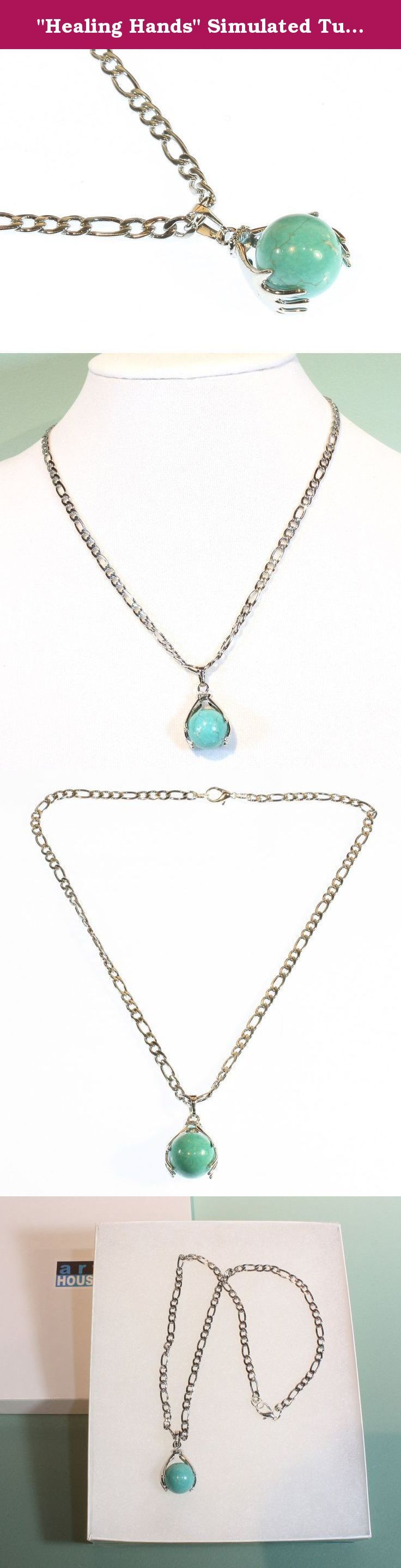 """""""Healing Hands"""" Simulated Turquoise Pendant on Stainless Steel Chain, 18 Inches. Style ARThouse is a beaded jewelry business located in Sandy Spring, Maryland, USA. It is a family-owned business operated by myself and my husband, founded in 2013. Our goal is to create and sell moderately priced casual jewelry that would be worn for fun and enjoyment. ARThouse style is usually simple and direct, with the individual beads and stones given center stage so that their own natural beauty can…"""
