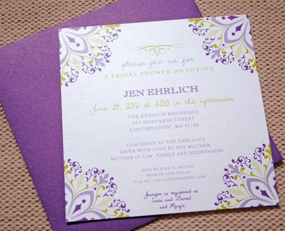 Purple Bridal Shower Invitations Purple Bridal by WhimsyBDesigns, $1.75. Omg this is perfect for our wedding