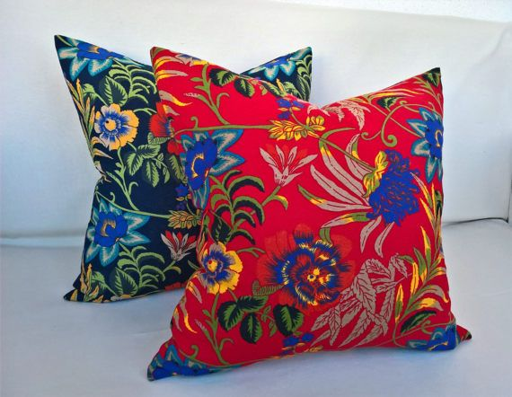 Red based beautiful decorative pillow cover with big yellow and purple flowers. It was love at first sight when i saw this fabric and i was right, its a piece that will brighten up any room and any couch!    - 20X20 inches (50X50 cm).  - Machine washable (cold water). - Iron inside out.  - Fabric: 100% cotton.  - Zip closing.  - This is a pillow cover. Insert not included (in order to reduce shipping cost).  - Please keep in mind that colors may look different at different screens. - This…