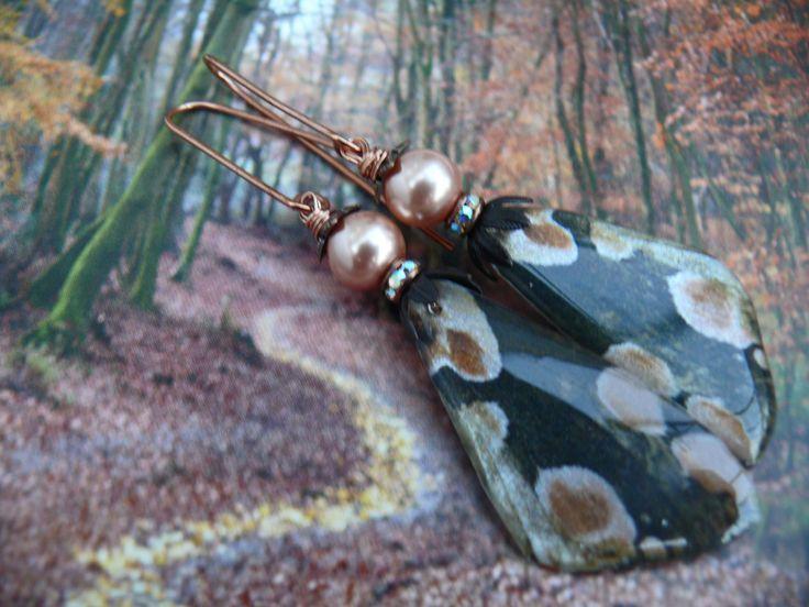 Peach Blossom - artisan black peach moth inspired resin wing pearl rhinestone goth romantic earrings by PreciousViolet on Etsy