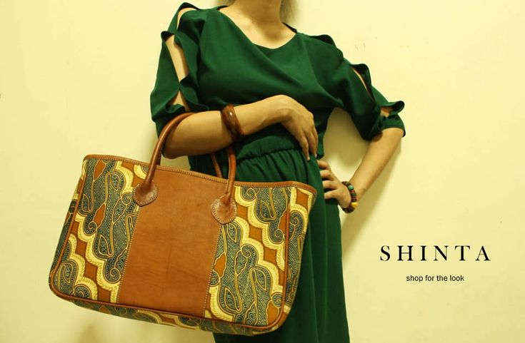 Shinta Tote bag with Swirling Batik and leather handle. Available at djokdjabatik.com
