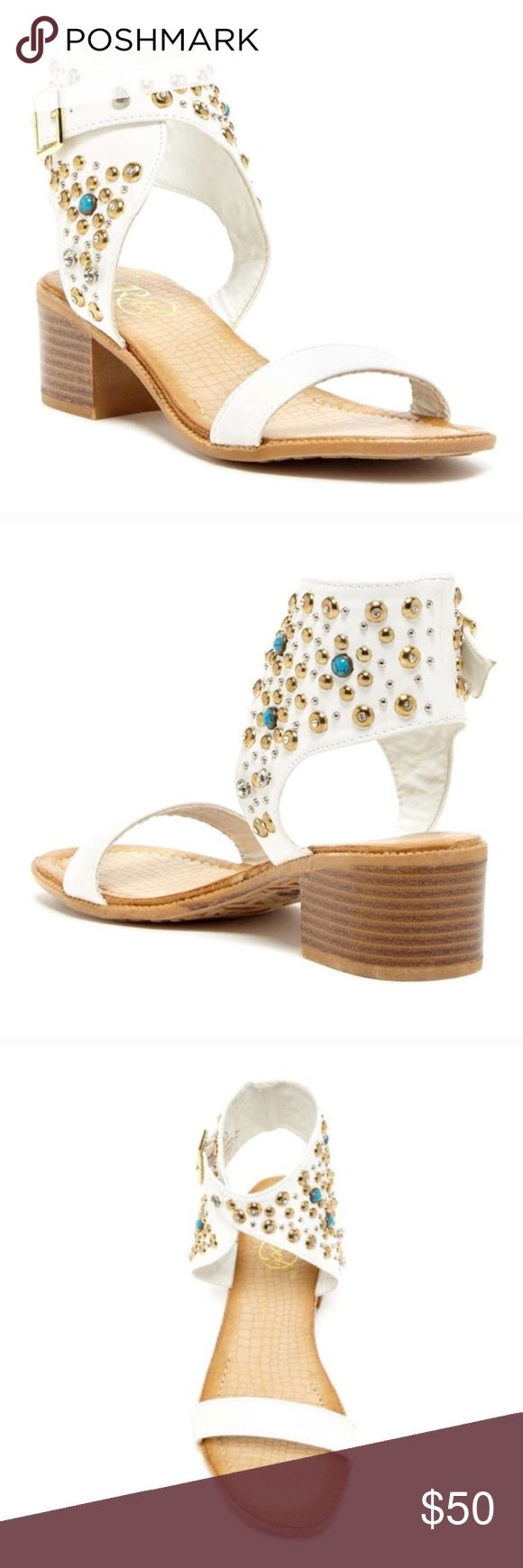 Nordstrom White Boho Embellished Sandals NOT JEFFREY CAMPBELL, LISTED FOR EXPOSURE! Just like the Jeffrey Campbell Lakota or Seneca or the Isabel Marant Carol and Jaeryn! They've never been worn, so they're brand new without the box. They're white faux leather with gold and blue beads and perfect with any outfit. Purchased them from Nordstrom last summer but never got the chance the wear them, THEN they went on sale! Last couple photos are the sandals in black! Jeffrey Campbell Shoes Sandals