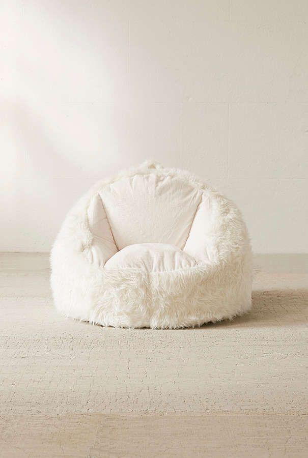 Slide View: 2: Faux Fur Electronics Storage Bean Bag Chair