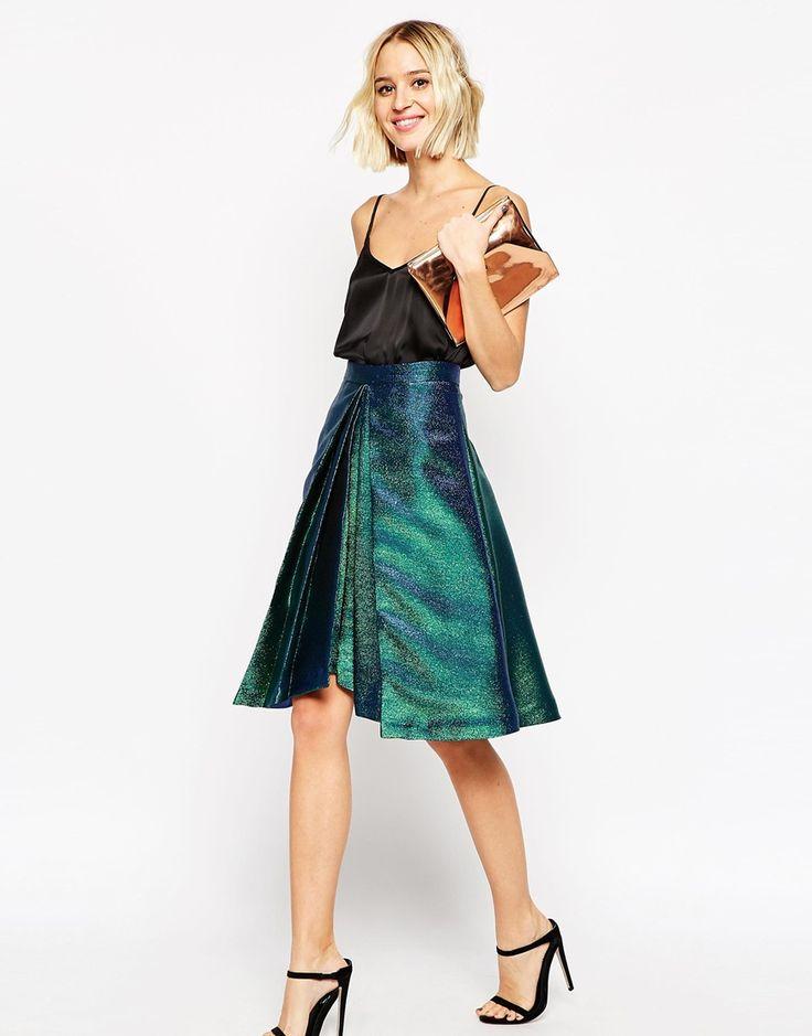 Image 1 ofASOS Prom Skirt in Metallic with Origami Hem