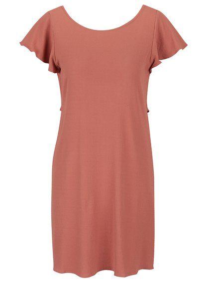 Staroružové šaty s volánom na chrbte VILA Alda
