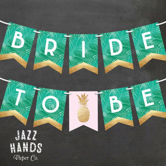 Tropical Bridal Shower Banner  DIY Printable  by JazzHandsPaperCo