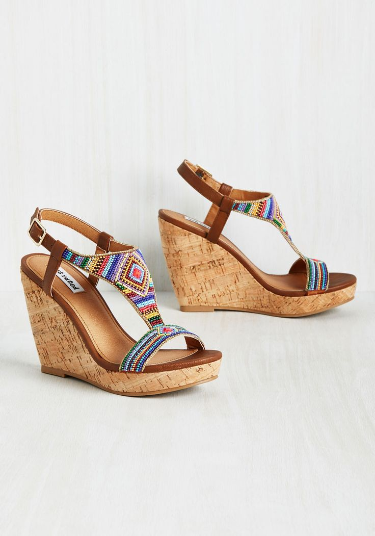 Right Side of the Bead Wedge in Prismatic. Wake up, buckle into these brown wedges, and know youre going to have an great day. #multi #modcloth