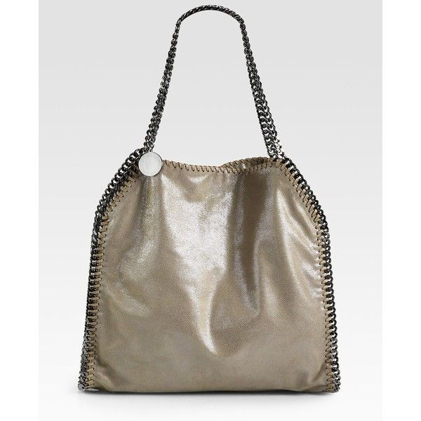 Stella McCartney Baby Bella Shoulder Bag (1 525 AUD) ❤ liked on Polyvore featuring bags, handbags, shoulder bags, apparel & accessories, ruthenium, hand bags, brown purse, man leather shoulder bag, leather handbags and chain shoulder bag