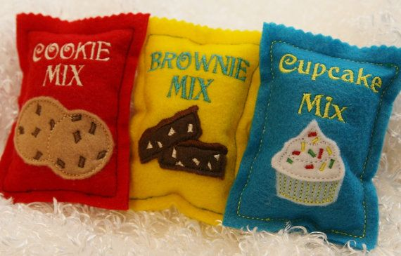 Set of 3 felt food baking mixes- cupcake, cookie, and brownie via Etsy