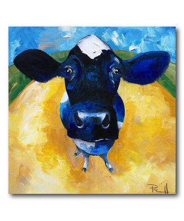 Love This Blue Cow Wrapped Canvas On