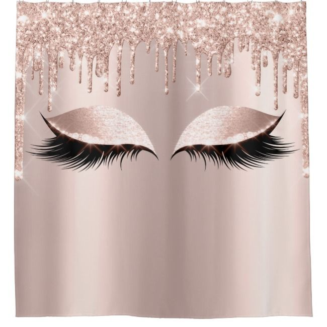 Eyelashes Makeup Spark Rose Girly Drips Shower Curtain Zazzle