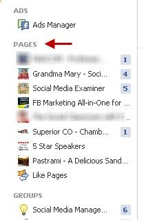 pages on left sidebar >> tips for connecting your fb profile and your fb page