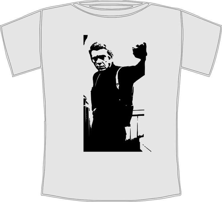 Men's Steve McQueen Cool Retro Movie Icon T-Shirt    Cool Steve McQueen movie icon t-shirt featuring the legendary film star    Available from our Etsy store www.etsy.com/shop/TheTshirtShack