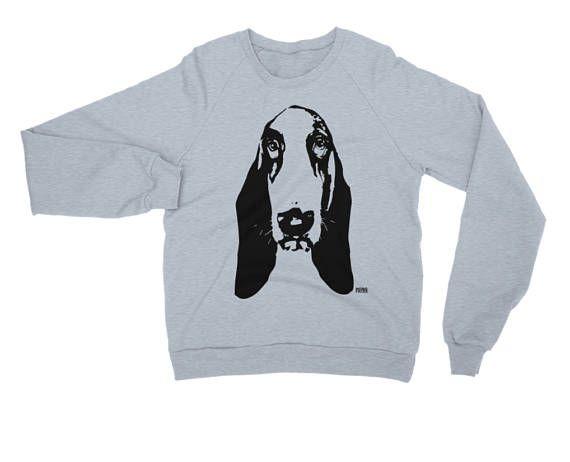 Basset Hound Unisex Sweatshirt Dog Stencil Art Personalized