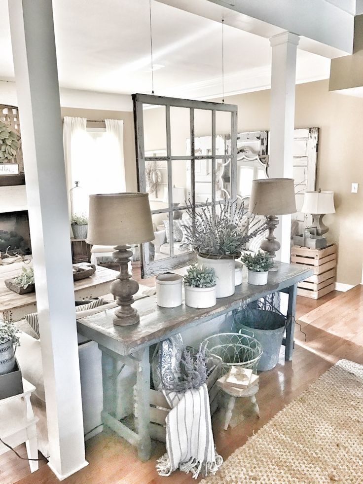 Bless This Nest - Farmhouse Table with hanging window as room divider. Fixer upper style