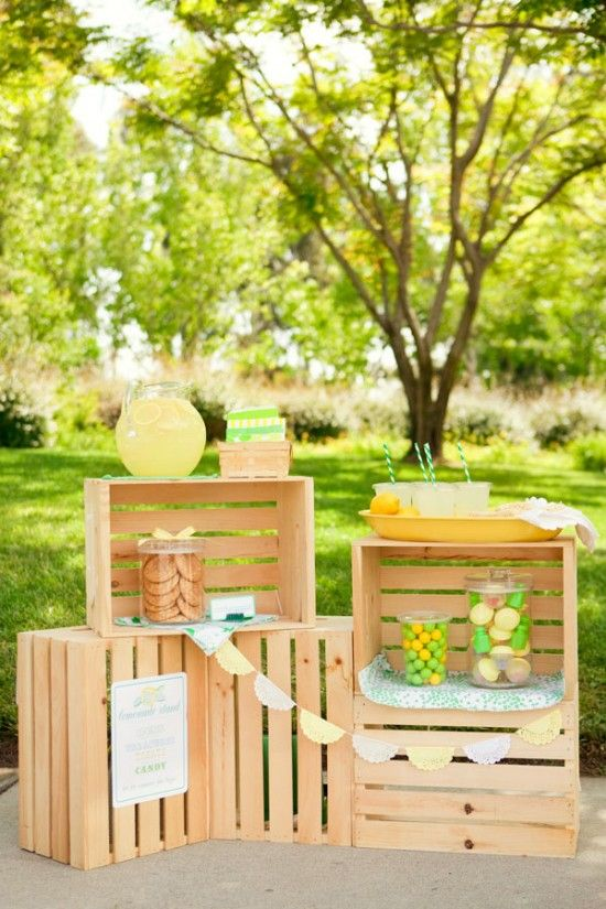 Lovely Lemonade Stand Party #baby #shower #party #buffet #school #classic #girl #birthday #decorate #decoration #theme #buffet #candy #dessert #cake #balloon #children #lemonade #stand: Children Plays, Booths Display, Lemonade Parties, Lemonade Stands Parties, Drinks Stations, Parties Ideas, Display Shelves, Wooden Crates, Wood Crates