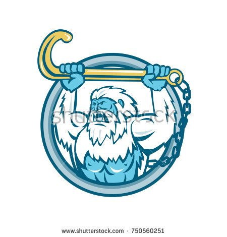 Retro style illustration of a muscular yeti or Abominable Snowman, an ape-like entity lifting or holding up a j hook or tow hook set inside circle on isolated background.  #yeti #retro #illustration