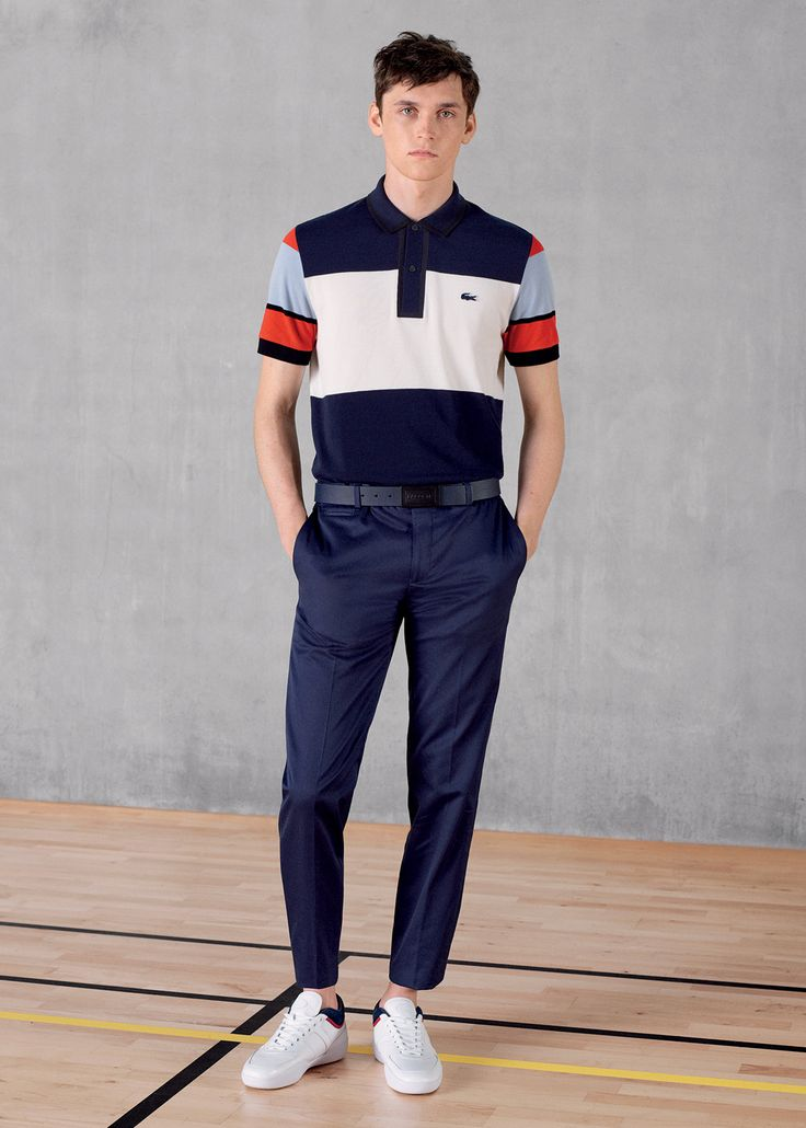 """Discover for him our Men's """"Made in France"""" short sleeve bar stripe colorblock Polo."""