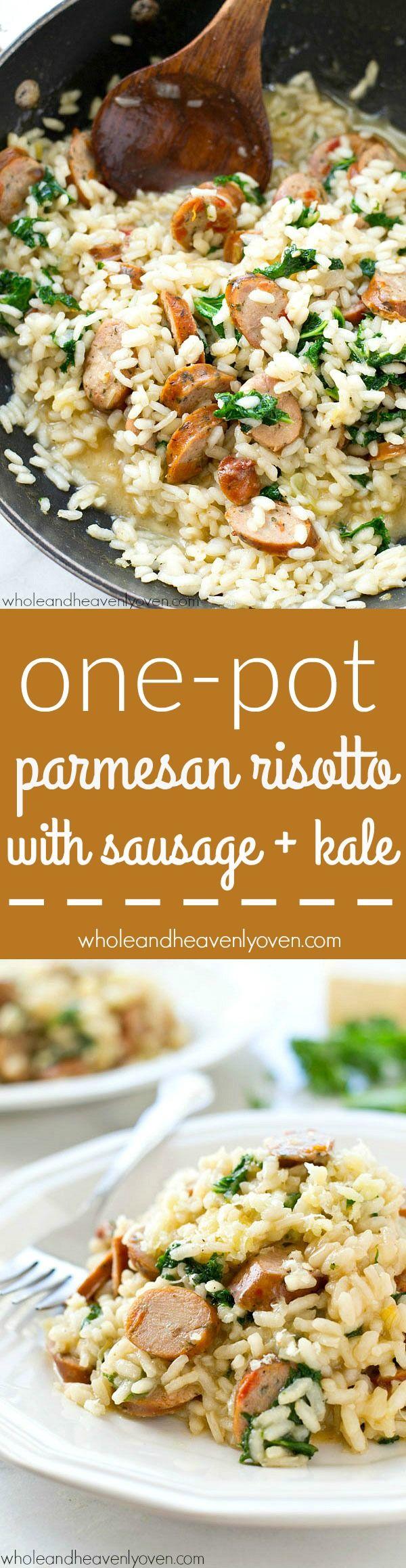Cremosa al estilo restaurante risotto parmesano cargado con un montón de salchicha y la col rizada, y sean de una olla en sólo 30 minutos!  La…