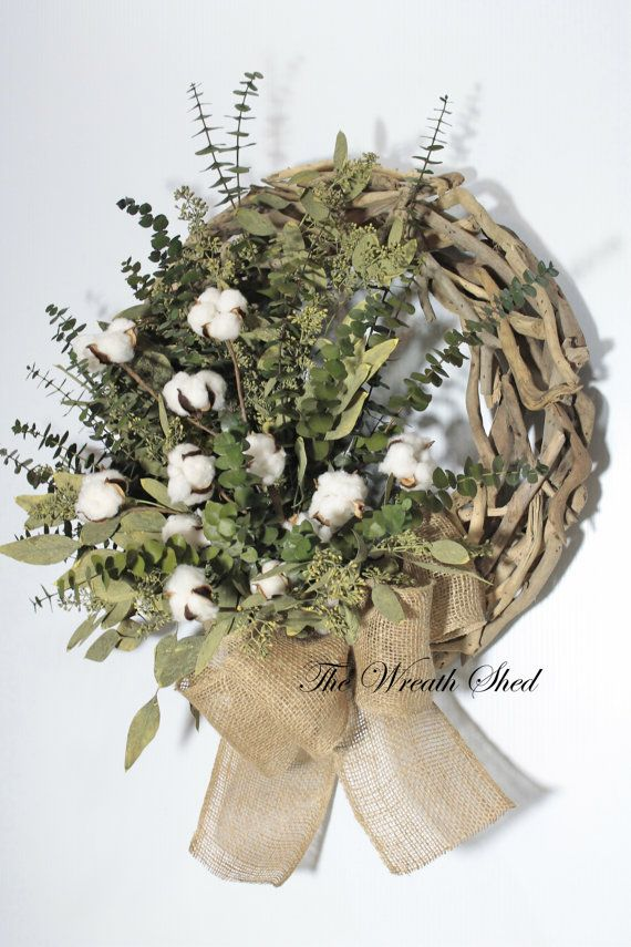 Eucalyptus Cotton Wreath, Cotton Boll Wreath, Driftwood Wreath, Wreath for Door, Natural Preserved Wreath, Green Eucalyptus, Natural Burlap