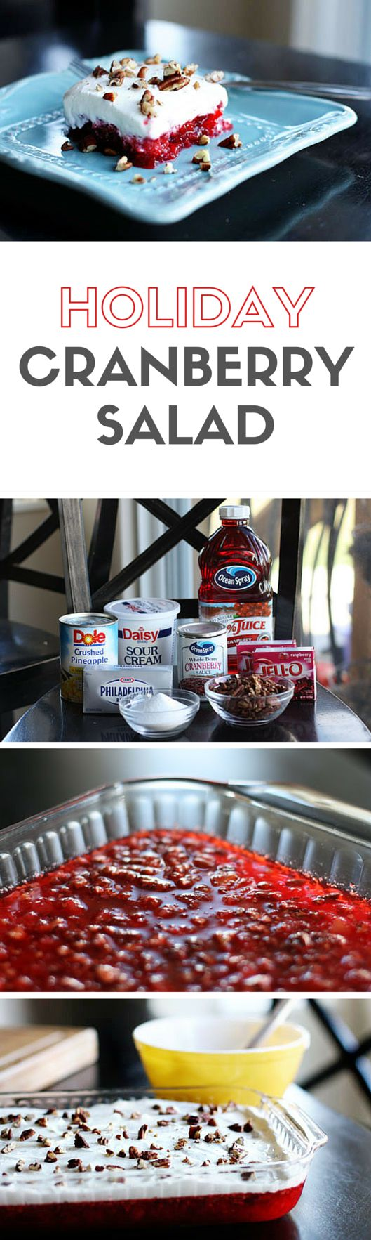 Cranberry Salad -- truthfully, this cranberry jello salad with cream cheese is more of a dessert, but we serve it as a side... It's one of our Thanksgiving traditions! | via @unsophisticook on unsophisticook.com