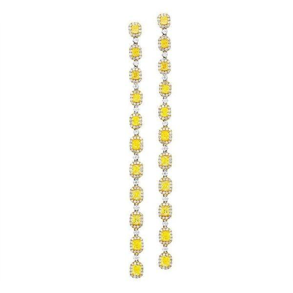 Long Drop Canary Yellow Diamond Earrings (77.998.400 IDR) ❤ liked on Polyvore featuring jewelry, earrings, drop earrings, yellow, 18k jewelry, yellow diamond earrings, canary yellow diamond earrings and cushion cut earrings