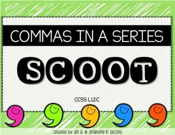 """This is a """"scoot"""" or """"roam the room"""" activity! Students get a recording sheet and visit different cards placed around the room. They write their answers on the recording sheet. In this activity, the students decide if the commas are correctly written in a series of words or not.There are 16 task cards.There are two different recording sheets: one with lines for the students to write the corrected sentence and the other with the option to circle correct or incorrect.It also comes with a…"""