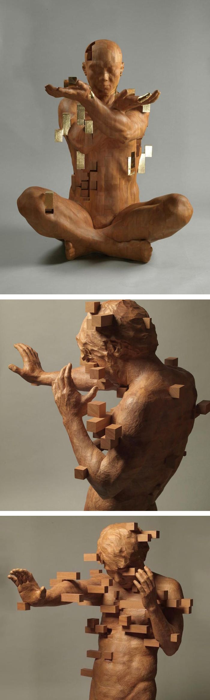 Hsu Tung Han's wooden sculptures look like pixelated images.