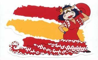 Autocollant du drapeau espagnol avec la Vache Lola