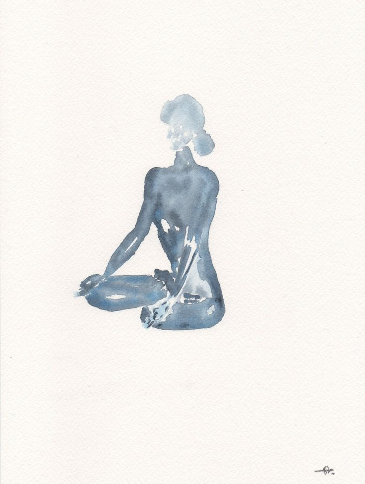 Yoga Lotus pose | Indigo blue | Watercolour Painting | Original art by Sybilleart on Etsy