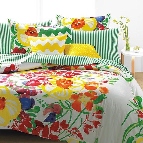 Like a scene from a summertime dream, you can sleep tucked away in a glorious garden with this magical Marimekko bedding. Marimekko Ursula Percale Bedding - $140-250
