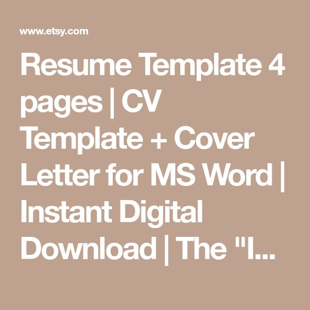 """Resume Template 4 pages 