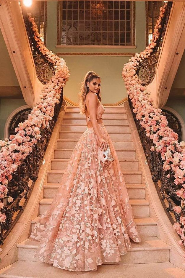 Princess Halter Backless Pink Lace Prom Dresses Two Piece Floral Formal Dress uk PW438