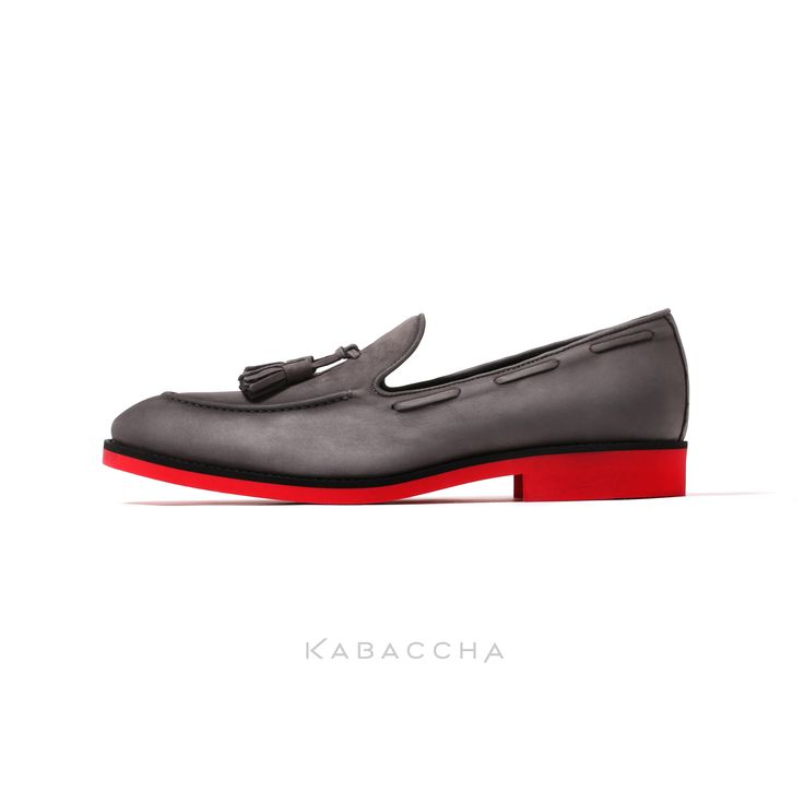 Kabaccha Shoes // Grey Nubuk Leather & Black/Red Sole Loafer  #KabacchaShoes #Loafers