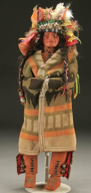 Skookum - large sizes rare, especially with original headdress, leather chaps, bells