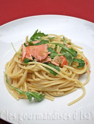 Spaghettinis à la truite grillée au miel