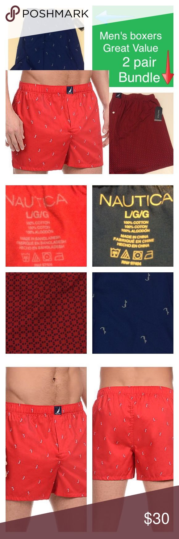 Men's nautica boxer bundle Elevate your essentials collection with this tag-free pair. Crafted with a novelty print and comfortable woven fabrication you'll love, these boxers are the perfect wardrobe staple. Stay sleek and discreet for all-day wear in this essential style. 14.75-in. outseam; 4.5-in. inseam Hidden elastic waistband Single button fly Tag-free 100%Cotton Machine washable Nautica Underwear & Socks Boxers