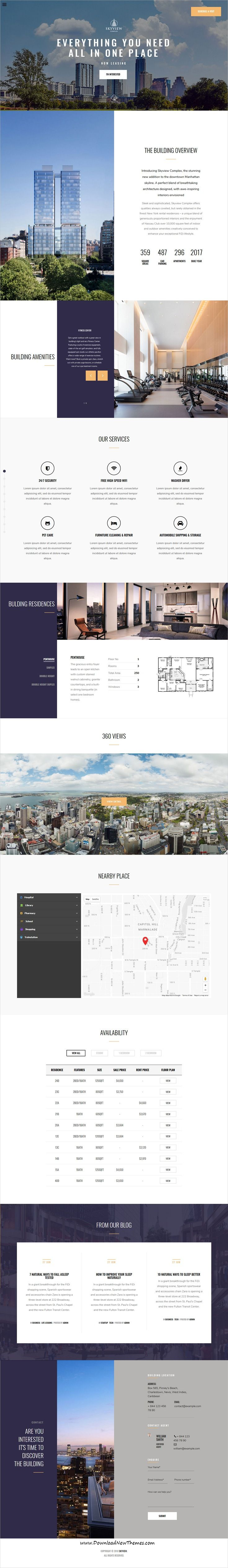 Skyview Complex is clean and modern design responsive #WordPress theme for onepage single #property and #realestate business website to live preview & download click on Visit