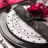 1019 Dots White Black Plastic Dinnerware Value Pack