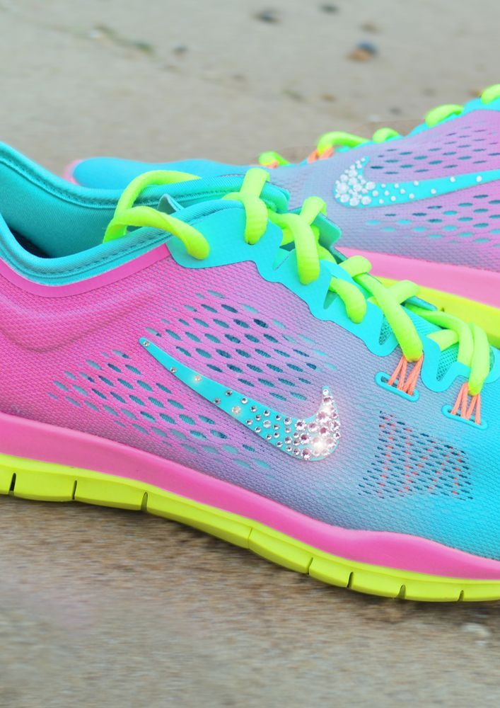 Tropical twist ,pink glow and volt nike tr 4 trainers with swarovski tick…