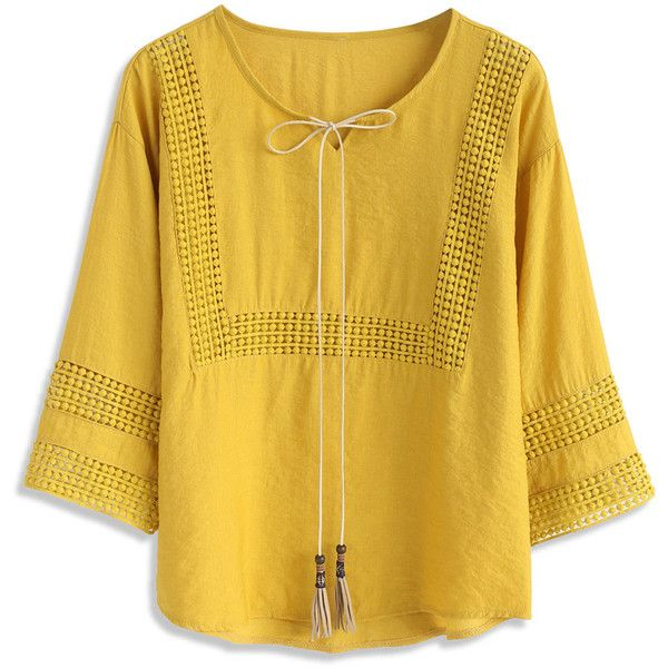 Chicwish Boho Ballad Smock Top in Mustard ($36) ❤ liked on Polyvore featuring tops, yellow, boho tops, tie top, bohemian style tops, loose tops and loose fit tops