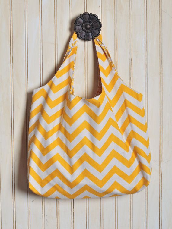 Doek+Tote+Bag++gele+Chevron+van+carriedawaybags+op+Etsy